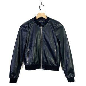 Zara Trafaluc Faux Leather Zip Bomber Jacket XS